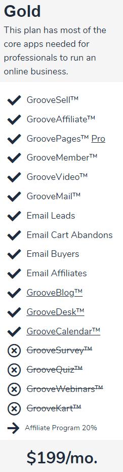 GrooveFunnels Gold Plan