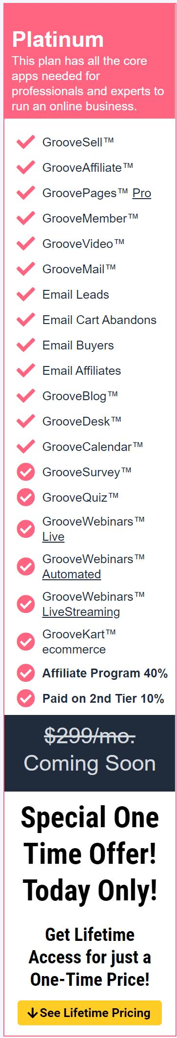 GrooveFunnels Platinum Plan
